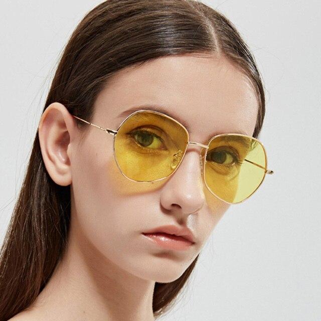 25716cf79b3 Fashion Sunglasses Polygon Clear Lens Sunglasses Women Brand Designer Frame  Men Vintage Sun Glasses Hexagon Metal Frame