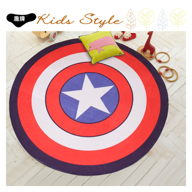 Polaire Capitaine Amerique Bouclier Simple Moderne Tapis Rond Dessin