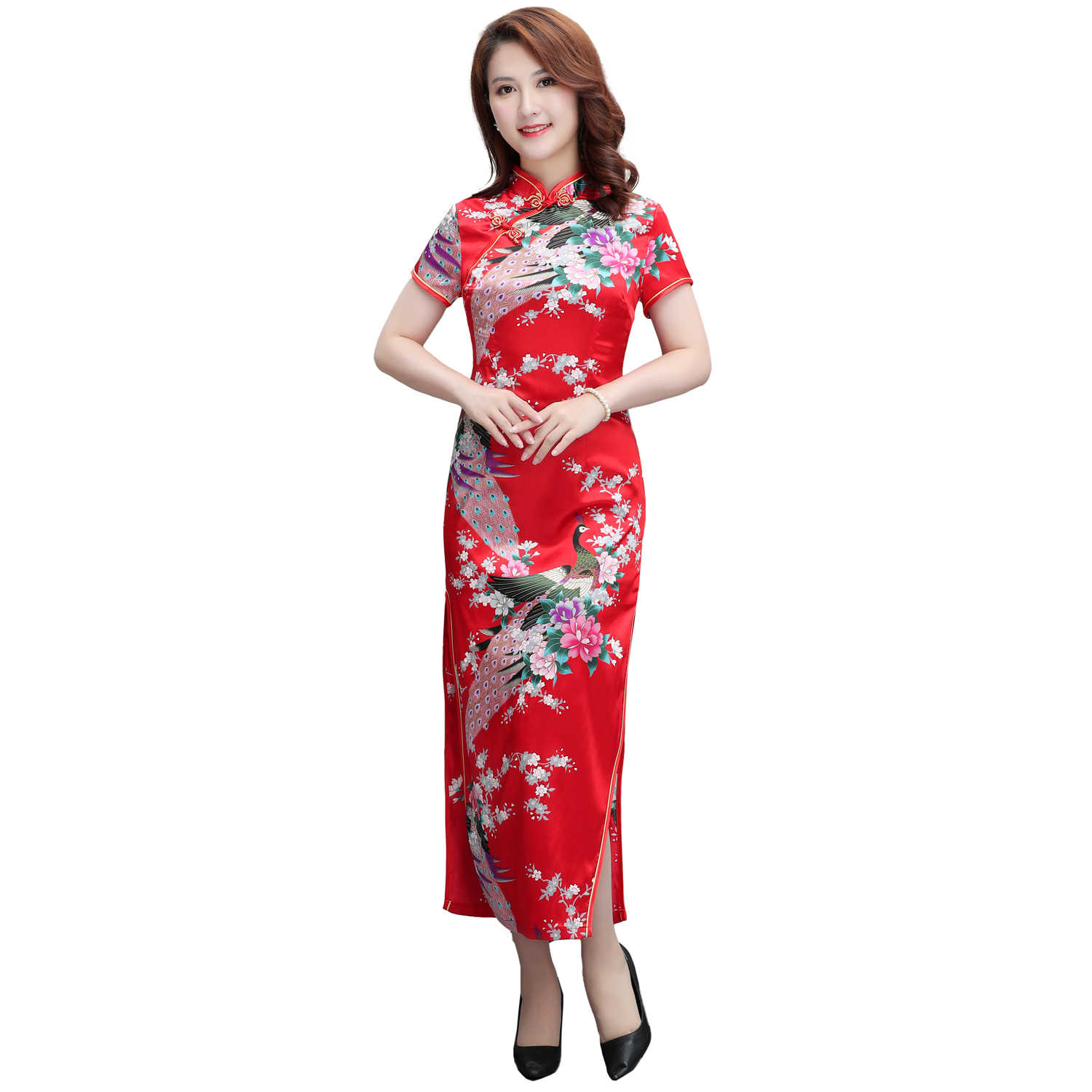 b496f9f5d4 Hot Pink Asian Women Elegant Evening Party Dress Vintage Chinese Style  Rayon Cheongsam Big Size XXXL Classic Qipao Vestidos