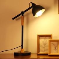 Long Arm Wrought Iron Table Lamps Creative Office Bedroom Study Restaurant Eye Light Student Desk LED black table lights za