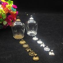 3 компл./лот 30*18 мм прозрачный bell jar формы стеклянный шар кружева лоток cap набор стекло желание бутылка ожерелье стеклянные флаконы diy ювелирные изделия