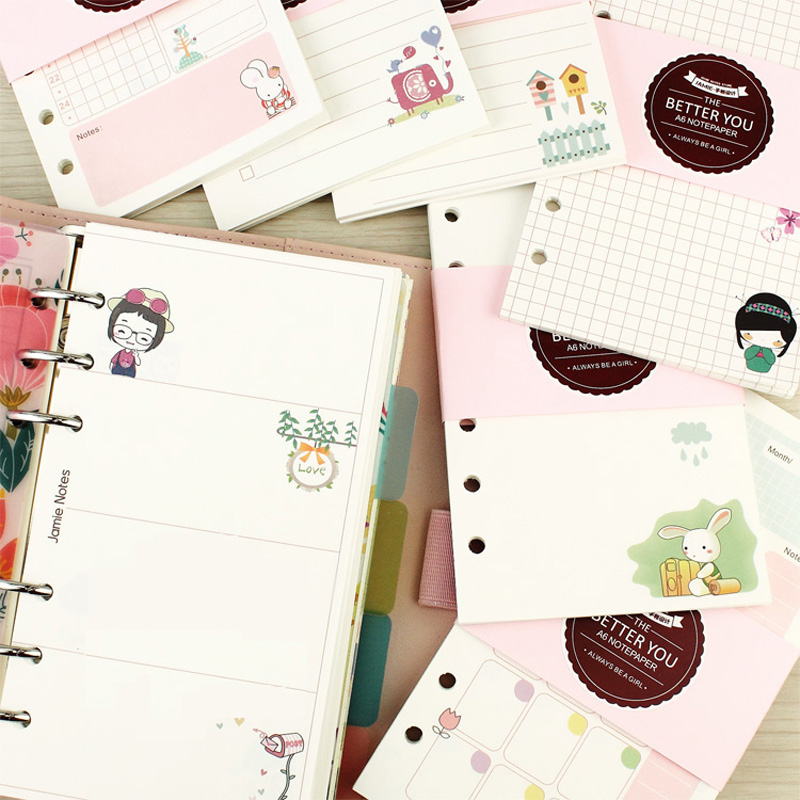 Cute Girly serie Notebook papeles A5 y A6 diario Color núcleo ...