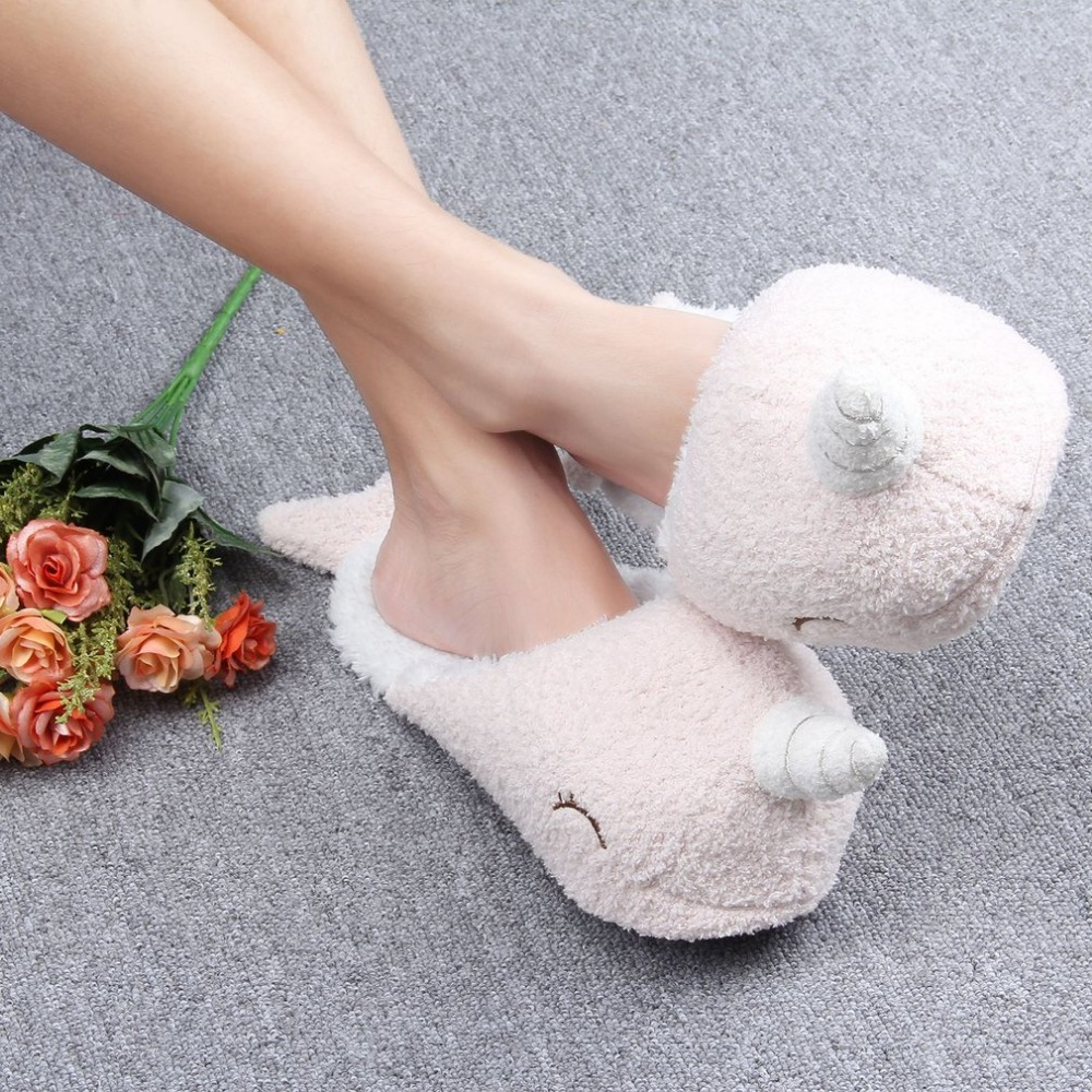 Narwhal Lovely Slippers Women Home Unicorn Slippers Winter Warm Fur Slippers Shoes Woman Soft Plush Slippers 36-38 One Size