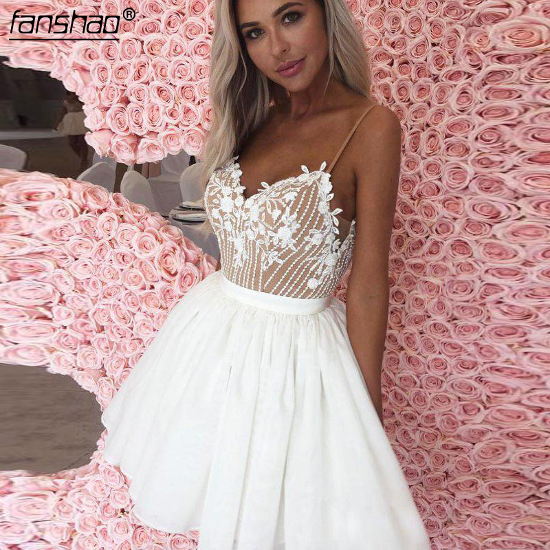 White Ivory Homecoming Dresses Ruffle Tulle Applique Beads A-line Spaghetti Strap Above,Mini Illusion Elegant Cocktail Dresses