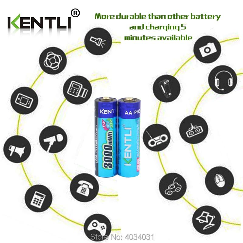 KENTLI 8 шт. 1,5 в батарейки AA AAA литий ионная литий полимерная литиевая батарея + 4 слота AA AAA литиевая батарея Li ion смарт зарядное устройство - 6