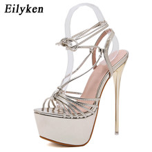 cb755bb161 Eilyken 2019 Novas Mulheres de Verão Sandálias Open-toe Lace-Up  Cross-amarrado Super Sapatos de Salto Alto Clube zapatos Mujer .