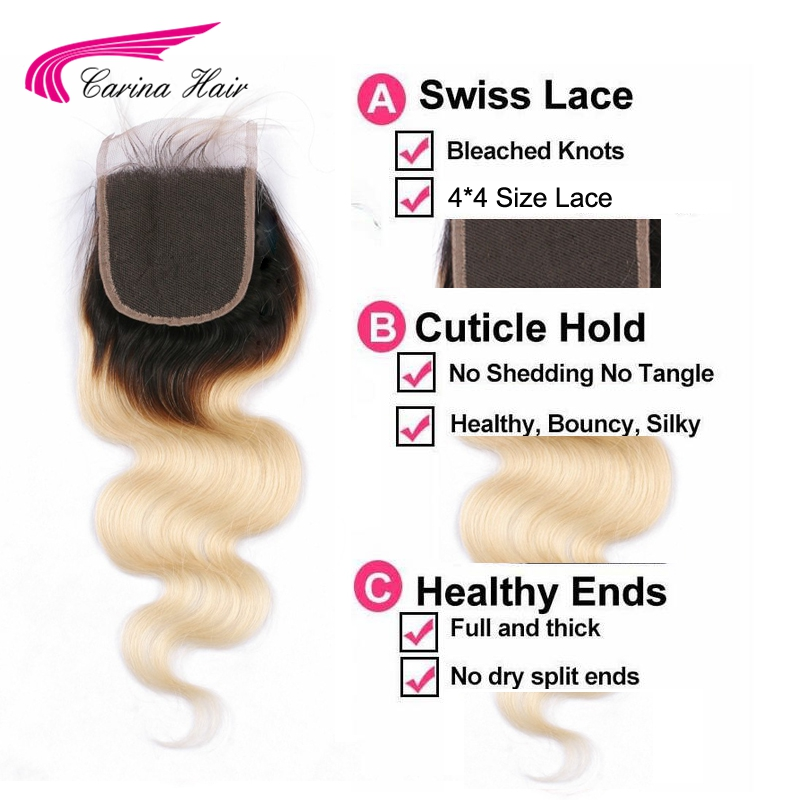 Carina Hair 1B 613 Remy Human Hair Weft 2 Pcs with 4*4 Lace Closure Brazilian Body Wave 2 Bundles Hair with Top Closure