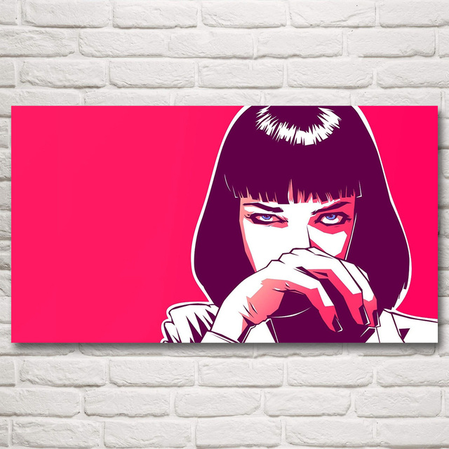 Pulp Fiction Mia Wallace Uma Thurman Movies Art Silk Fabric Poster 11×20 16×29 20×36 Inches Home Decor Pictures Free Shipping