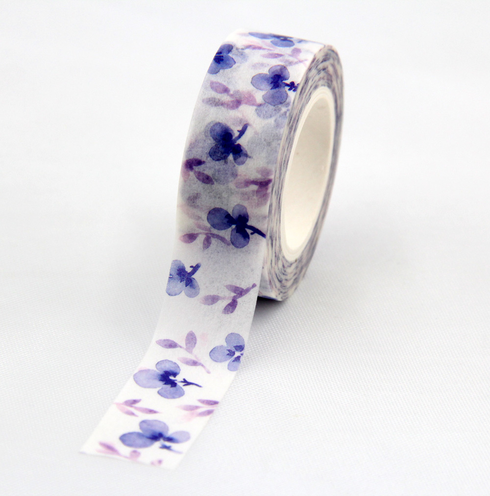 New Arrival 1PC 15MM*10M  White Blue Flower Washi Tape Wide Sticky Adhesive Tape Scrapbooking Album DIY Decorative Paper Tape