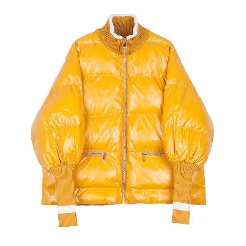 De Manteau Longues Verni D'hiver À Black Manches Côtes Outwear yellow L1762 Col Le Chauve Bas Brillant Couture Vers Veste Montant Femmes Chaud En Cuir souris 8nOkX0wP