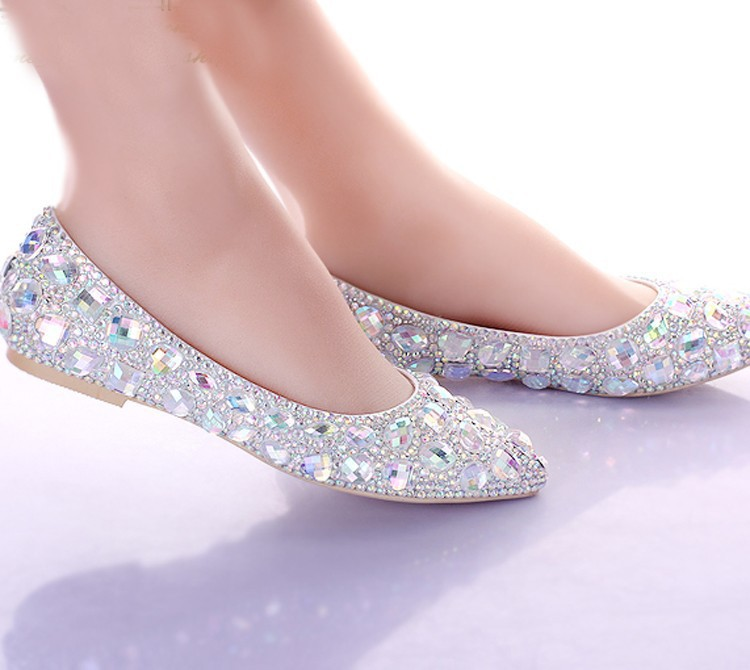 ... Flat Heels Pointed Toe AB Crystal Wedding Shoes Silver Dancing Flats  Performance Show Women Dress Shoes ... - Shoe Sheet Picture - More Detailed Picture About Flat Heels