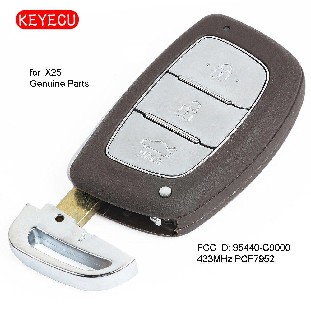 Keyecu OEM Genuine Smart Remote Key Fob 3 Button 433MHz PCF7952 For Hyundai IX25 2013-2015