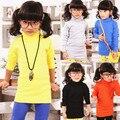 2017 весной и осенью дети девушки футболки водолазка с длинным сплошной цвет рубашки 100% хлопка девочек с длинными рукавами,