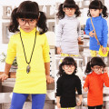 2017 spring and autumn kids girls shirts turtleneck long solid color shirt 100% cotton baby girls long sleeve top,