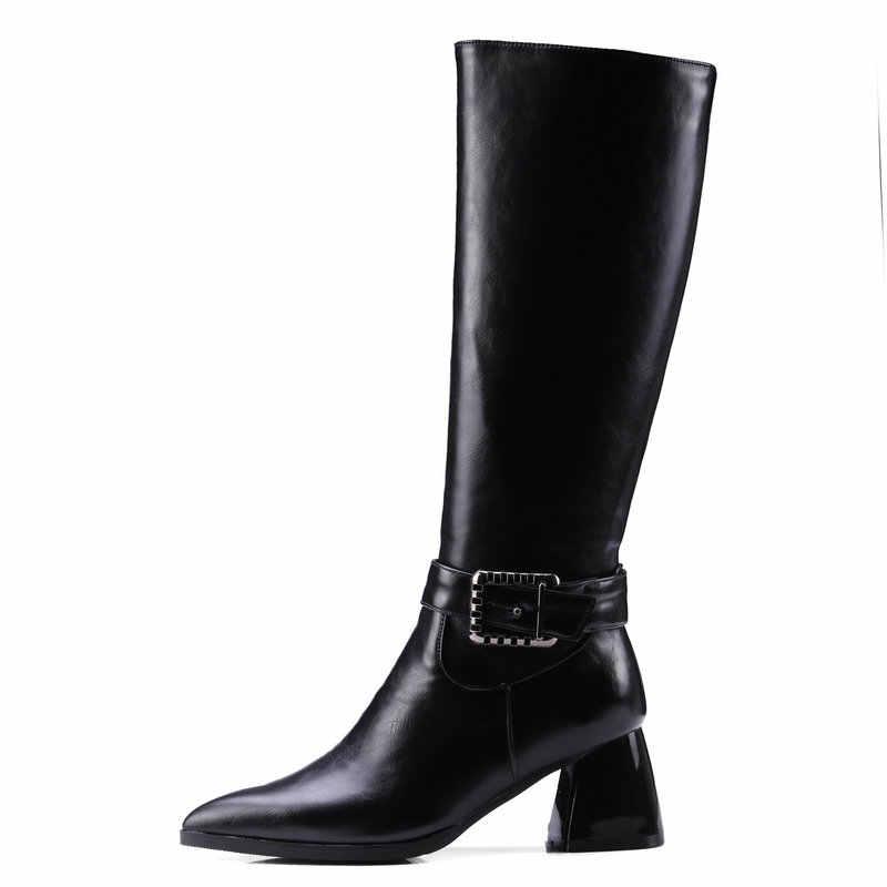 Kadın diz yüksek çizmeler toynak topuklar yüksek topuk moda çizmeler Zip sivri burun ayak kış bayan ayakkabıları siyah sarı