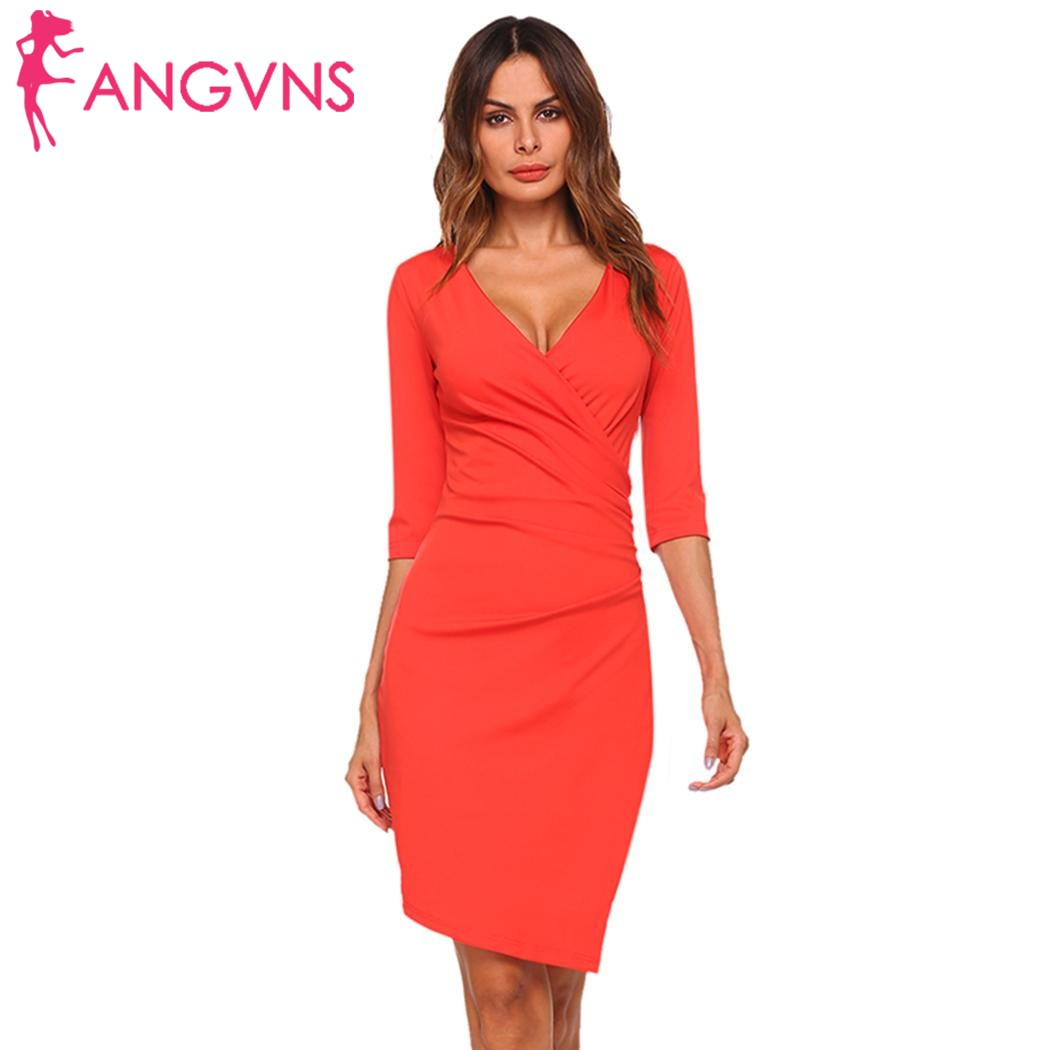 ANGVNS Femmes Croix Avant Faux Wrap Moulante Robe Asymétrique Sexy Profonde V-cou Demi Manches des Robes Solides Party Vestidos Feminino
