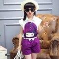 Meninas de verão Conjuntos de Roupas 2017 Moda PrincessCute Padrão Crianças Terno T-shirt de manga Curta + Shorts 2 peça Meninas Definido Para 4-14 T