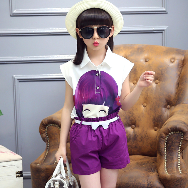 Summer Girls Clothing Sets 2017 Fashion PrincessCute Pattern Children Suit T-shirt Short + Shorts 2 piece Girls Set For 4-14T