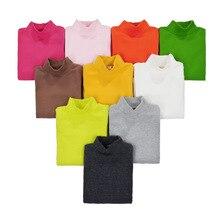 2017Autumn Winter Girls Boys High Collar T-Shirt Cotton Solid Candy Color Shirts Girls Boys Full Sleeve T-shirts KF271
