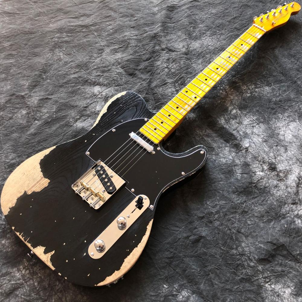 custom shop.tele 6 stings black color electric guitar.Maple fingerboard,relics by hands,musical instruments.