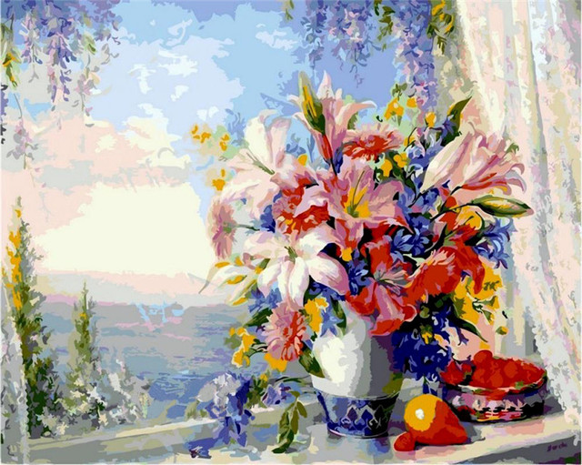 Multi color flowers in the spring oil Painting picture By Numbers ...