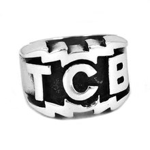 TCB Elvis Presley Biker Ring 316L Stainless Steel Jewelry Carved Letters Motor Biker Ring for Women and Men Ring Wholesa SWR0447