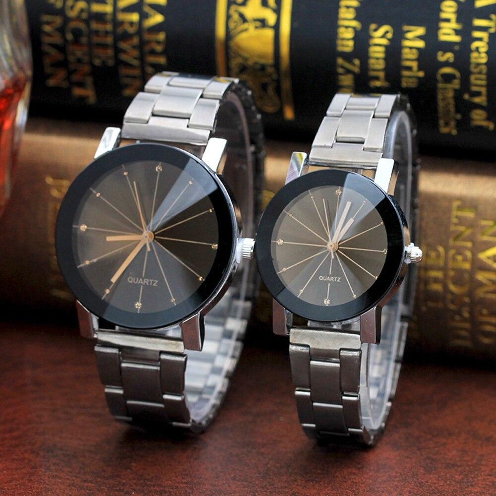 Classy Quartz Watches For Lovers Black Steel Minimalist Creative Womens Wrist Watch Men Diamond Watch Clock Unisex Hours Gifts