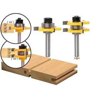 """Image 3 - Hohe qualität 8mm Schaft Zunge & Groove Gemeinsame Montage Router Bit Set 3/4 """"Lager Holz Cutter Holz Fräsen werkzeug"""