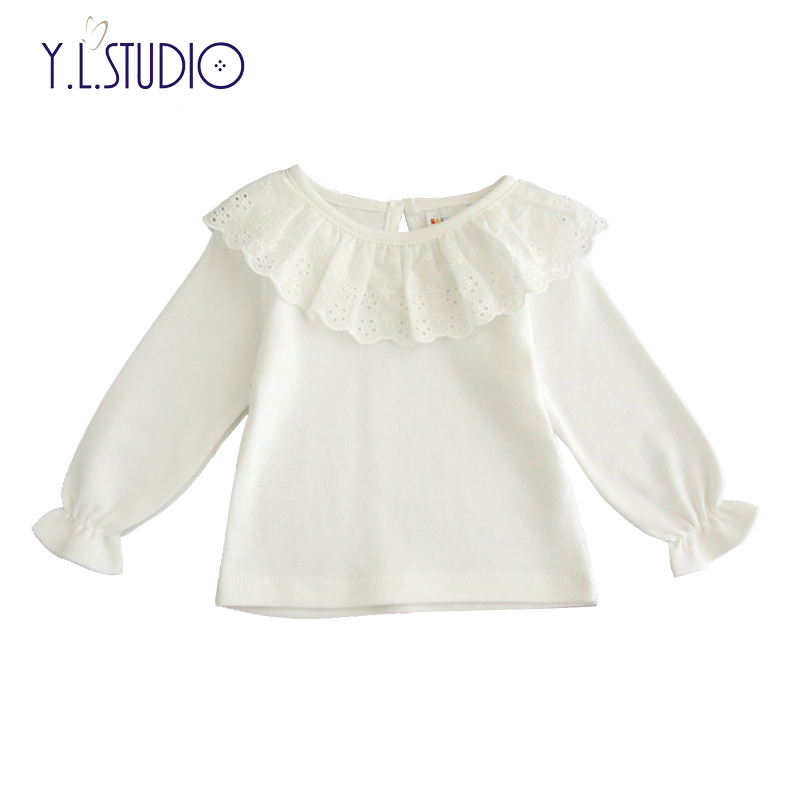 9adae6af0 Newborn Baby Girl Tops Cotton T-shirt O-neck Long Sleeve White Floral Lace  Pullover Hollow Front Cute New Born Ruffle Shirts   Babydreams