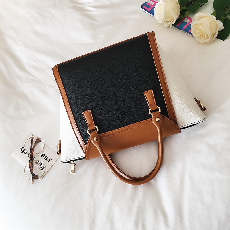 Image 3 - Panelled Women Bag Lock Trapeze Women Totes 2017 Luxury Leather Handbags Designer Famous Brand Women Crossbody Messenger Bags-in Top-Handle Bags from Luggage & Bags