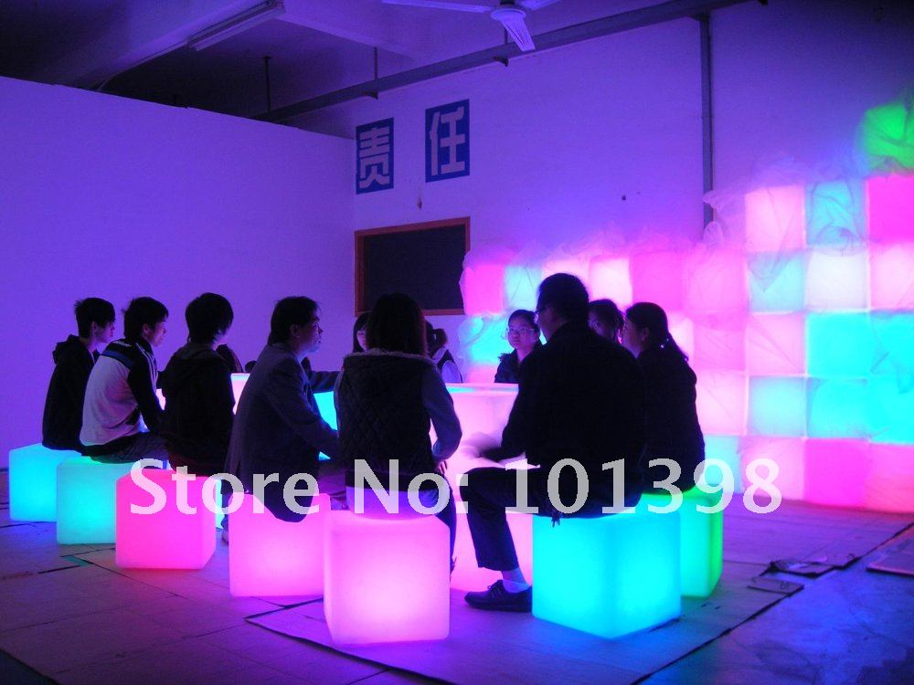 LED Cube Chair Mood Garden Cube Sofa Luminous Colors LED Chair LED furniture led cube chair outdoor furniture plastic white blue red 16coours change flash control by remote led cube seat lighting