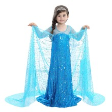 Halloween costume for kids COSPLAY Children Snow Queen Girls Elsa Princess Dress Long Sleeve Sequin Dress Infant Kids Clothes muababy girl anna dress up clothes with cape children long sleeve floral applique snow queen cosplay costume for halloween party