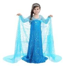 Halloween costume for kids COSPLAY Children Snow Queen Girls Elsa Princess Dress Long Sleeve Sequin Dress Infant Kids Clothes