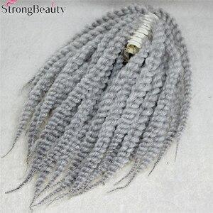 Image 4 - Starke Schönheit Afroamerikaner Zöpfe Geflochten Silber Grau Synthetische Pferdeschwanz Erweiterung Haarteil Klaue Clip
