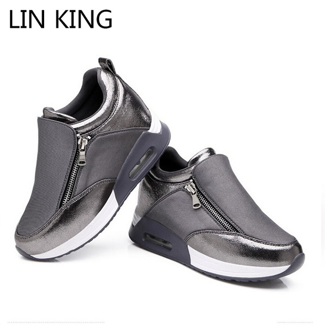 LIN REI Venda Quente Novo Zipper Aumento da Altura Sapatos Balanço Cunhas Sapatos Casuais Confortáveis Sapatos de Sola Grossa Inclinação Moda Ankle Boots