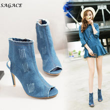 fc5cb7fdca906 CAGACE Shoes Women Rome Gladiator Sandales Summer high Heels Ankle Boots  sexy Peep toe lady Evening Hollow Zipper shoes Sandals