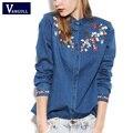 2017 Новый Стиль Женщины Vintage Denim Блузки Вышивка Цветы Pattern Джинсовые Рубашки Clothing Jeans Рубашки Camisa Blusas Feminina