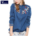 2017 New Style Women Vintage Denim Blouses Embroidery Flowers Pattern Denim Shirts Clothing Jeans Shirt Camisa Blusas Feminina
