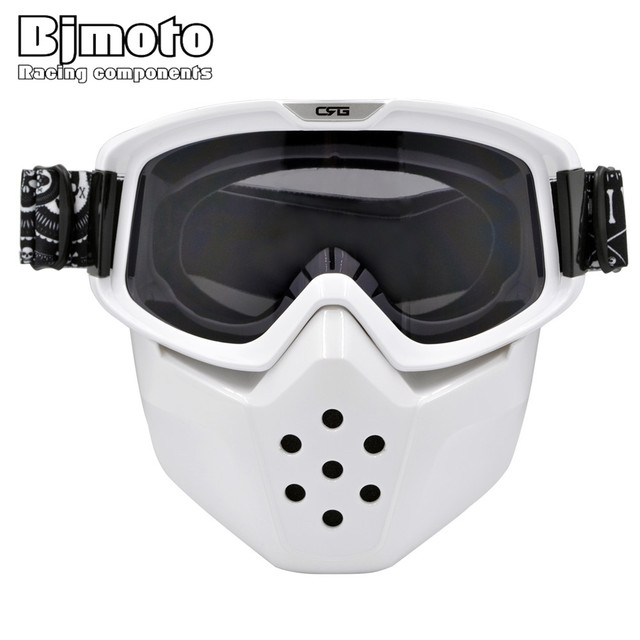MG-024 Motorcycle Face Mask Dust Mask with Detachable Goggles And Mouth Filter for Modular for Open Face Moto Vintage Helmets