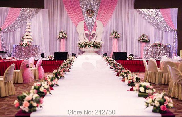 Size Combined Type Paillette Fashion Wedding Backdrop Curtains White Pink D Design