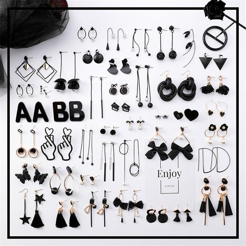 Korean Long Tassel Drop Earrings for Women Fashion Girl Black Geometry Dangle Earring Simple Cold Style Jewelry 2019