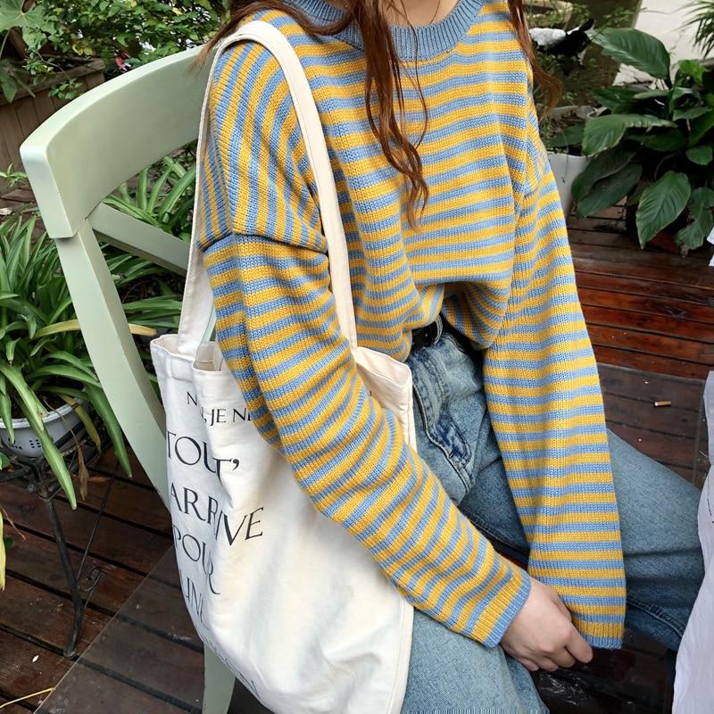 2019 Female Pullover Long Sleeve Sweaters Harajuku Women Autumn Winter Korea Style Casual Loose Joker Stripe Sweater