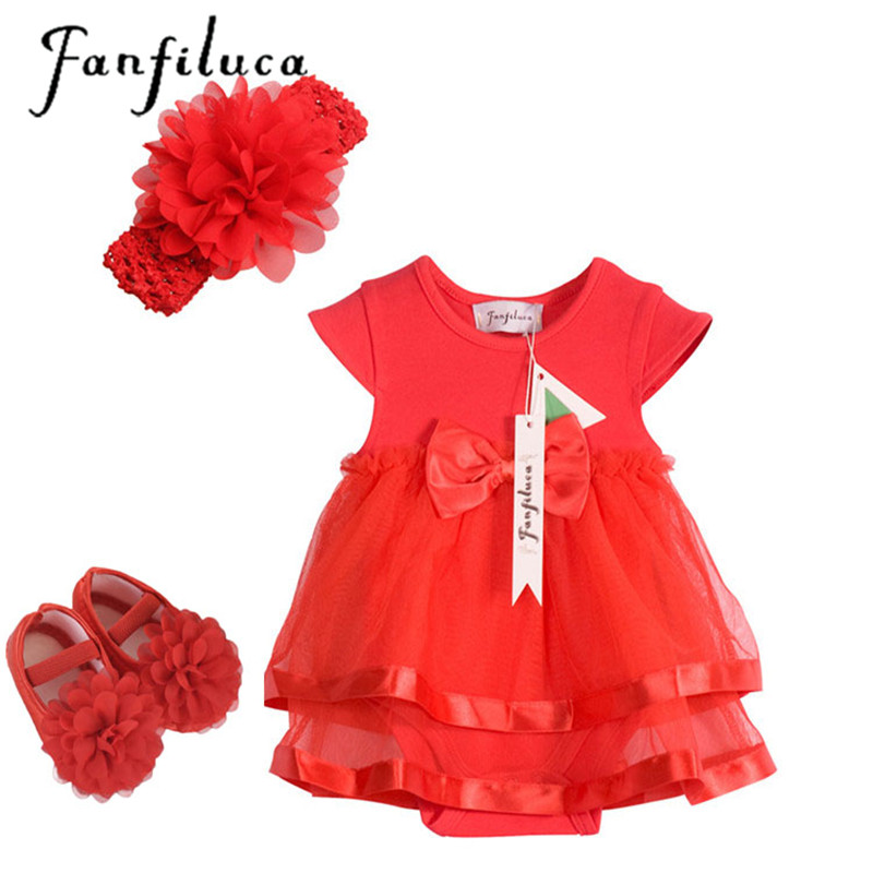 Fanfiluca 3PCS Baby Romper+ Baby Headband+Baby Shoes Bow Baby Girl Dress Cotton Soft Lace Newborn Body Suit Baby Clothes