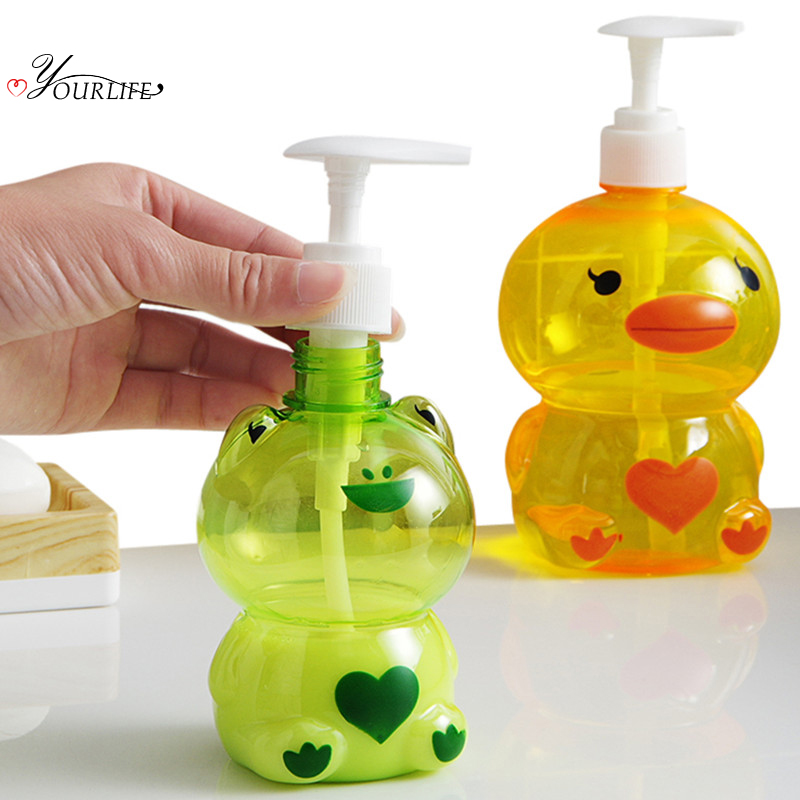 OYOURLIFE 1pcs Lovely Cartoon Bathroom Liquid Soap Dispensers Pump Shower Shampoo Bottle Hand Sanitizer Cleanser Container