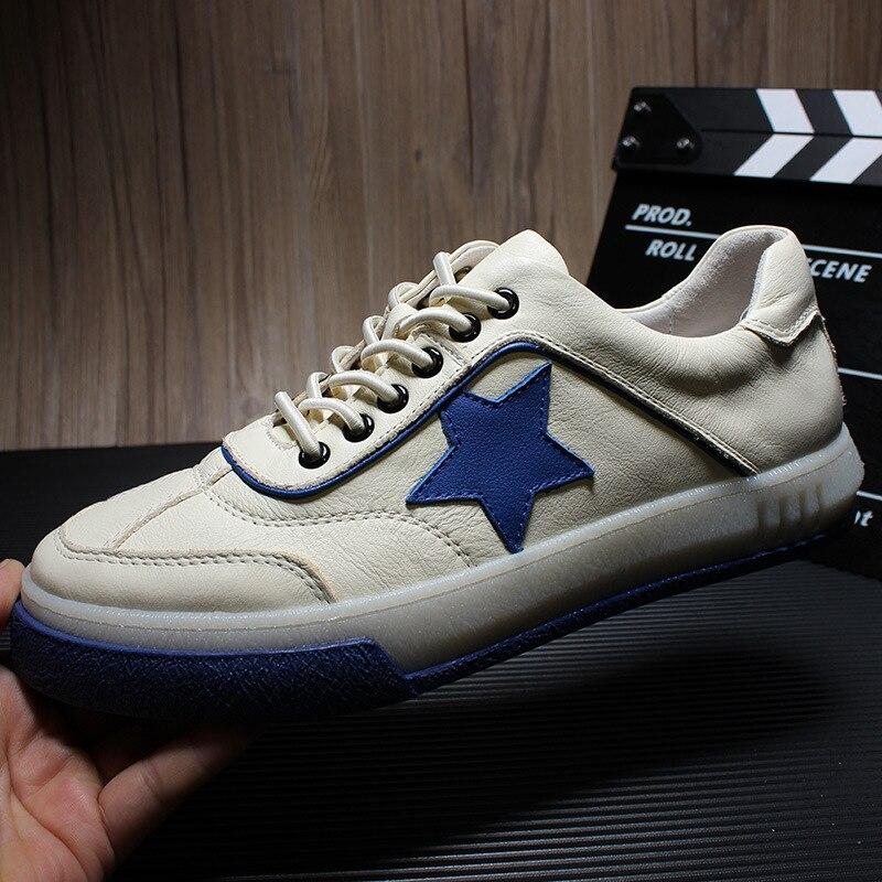 Zapatos de hombre de estilo inglés zapatillas de deporte de verano 2019 pisos transpirables de lujo Casual Retro de cuero genuino blanco zapatos planos zapatos de Hip Hop-in Zapatos informales de hombre from zapatos    1