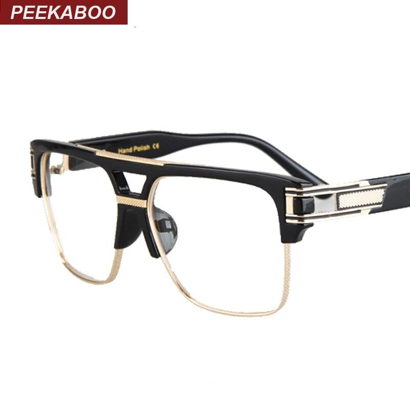 peekaboo wholesale 2016 mens spectacle frame optical brand black gold semi rimless big square glasses frames