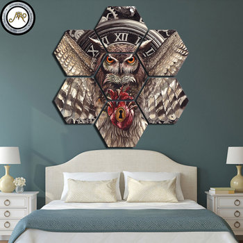 Tid HQ Bedsheet by Sunima Art Modern Wall Art Pictures Home Decor Posters 7 Panels Owl Living Room HD Printed Painting Frame