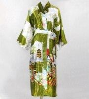 Verde do exército chinês Lady Sexy longo de seda Robe mulheres Kimono Kaftan vestido pijamas Pijama Plus Size sml XL XXL XXXL NR092