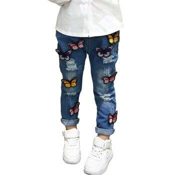 ילדי בנות ינס ג 'ינס ילדי תינוק דפוס פרפר בנות חמוד קריקטורה חור מכנסיים ילדי 3-7Y חינם מאתנו \ סין