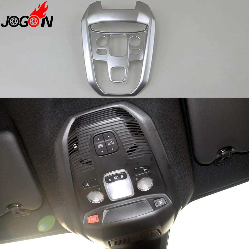 For Peugeot 3008 II 2016 2017 GT Car Interior Front Dome Read Light Trim Reading Lamp Cover ABS Matte Silver Car Styling
